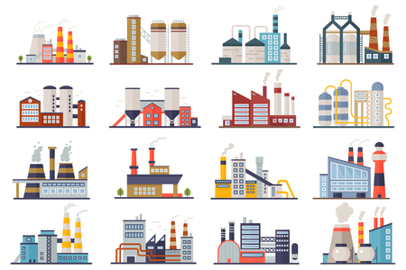 Factory industry manufactory power electricity buildings flat icons set isolated. Urban factory plant landscape vector illustration Vektorové ilustrace