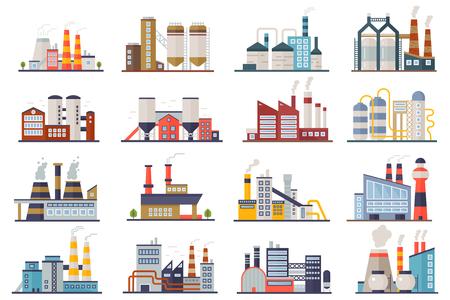 Set di icone piane degli edifici di elettricità della manifattura di industria della fabbrica di potere isolato. Illustrazione vettoriale del paesaggio urbano della pianta della fabbrica Vettoriali