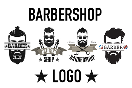 Vintage retro barbershop logo, label, emblem and badgesisolated on white vector illustration.
