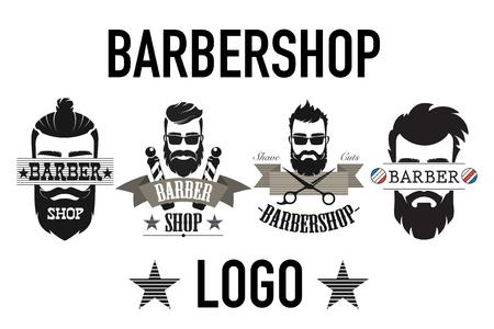Vintage Retro-Friseursalon-Logo, Etikett, Emblem und Abzeichen auf weißer Vektorgrafik isoliert.