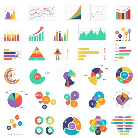 Set of colorful vector graphs and diagrams for finance, analytics and business presentation vector illustration.
