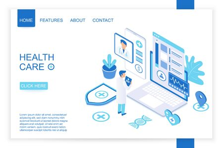 Isometric design of landing page template for healthcare organization. Health care isometry vector illustration.