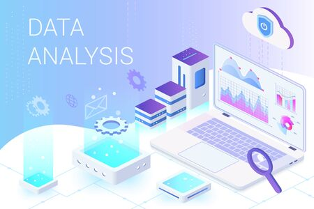 Data analysis isometric web banner vector template 일러스트
