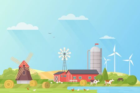 Farm landscape flat vector illustration. Summer farmland scenery with mill, cattle and poultry. Rural nature with barn, trees, flowers. Livestock farming, agricultural sector. Animal husbandry