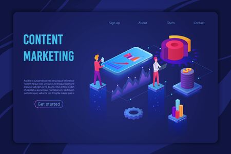 Content marketing strategy landing page isometric vector template