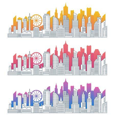 Modern cityscape outline gradient vector illustrations set