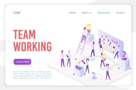 Team working landing page isometric vector template. Stock market analysis and monitoring 3d web banner concept. Analysts teamwork. Business innovation, analytics website homepage layout. Illustration