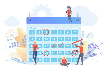 Workers planning time with calendar flat vector illustration. People marking dates with red circle, check signs cartoon characters. Time management metaphor. Scheduling agenda, company events Illustration