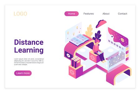 Distance learning isometric landing page template. Global access to modern education with digital technologies. Student reading tutorial, book. E-learning application website page design layout