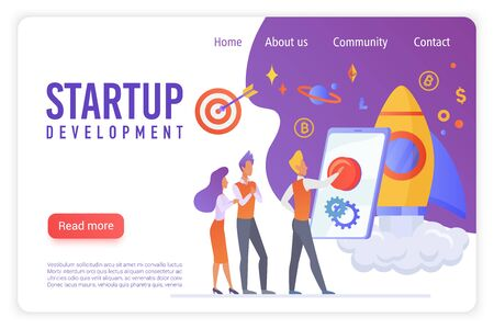 Startup development flat vector landing page template. Creative people discussing innovative project. Young businessman convincing partners to make investment. Pushing button to launch startup Vector Illustratie