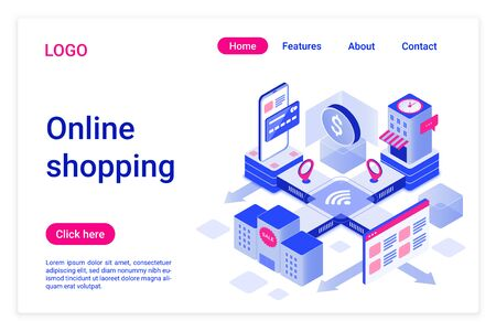 Online shopping isometric landing page template. Internet purchases promotional web banner. E-commerce, electronic trade. Online wholesale, retail sales application website design layout.