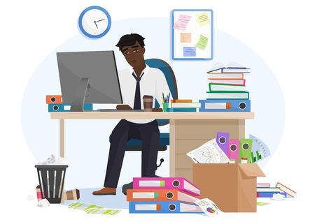 Tired sleepy african american black male office worker stays late on workplace. Overload paperwork, meeting deadlines, report, overwhelmed by work young businessman vector illustration