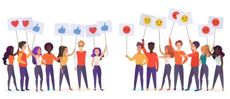 People holding emoji posters flat vector illustration. Social satisfaction and stratification concept. Community groups protesting and expressing feelings cartoon characters isolated on white