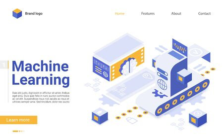Machine learning flat landing page vector template. Artificial intelligence futuristic technologies website design layout.