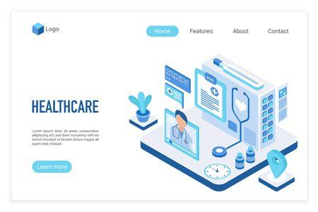 Medicine and healthcare isometric landing page vector template. Online medical consultation website design layout. Reklamní fotografie - 131125678
