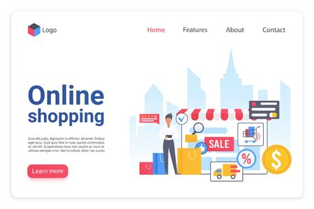 Internet shopping landing page flat vector template. Online ecommerce marketplace website design layout. Internet store webpage cartoon concept.