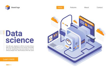 Data science isometric landing page vector template. Cloud computing website design layout. Online data storage technologies web page 3d concept. Automated web analytics webpage interface