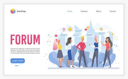 Forum landing page flat vector template. Online chat service website design layout. Internet communication webpage cartoon concept illustration. Online group discussion platform web page interface