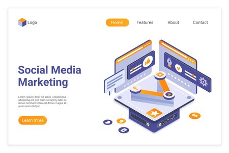 Social media marketing isometric landing page vector template. SMM tools website design layout. Social sharing. Digital marketing web page 3d concept. Content optimization webpage interface