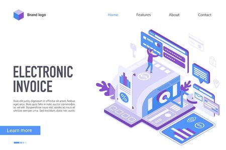 Electronic invoice landing page vector template. Internet banking, e invoicing website homepage interface layout with isometric illustration. Paying taxes online web banner, webpage 3D concept Stock Illustratie
