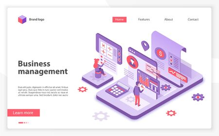 Business management landing page vector template. Corporate development website homepage interface layout with isometric illustration. Leadership training courses web banner, webpage 3D concept Illustration