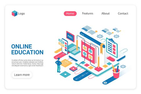 Online education landing page vector template. Internet school, college website homepage UI layout with isometric illustration. Remote graduation, training classes web banner, webpage 3D concept