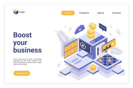 Boost your business landing page vector template. Start up funding platform website homepage interface layout with isometric illustration. Investment attraction web banner, webpage 3D concept