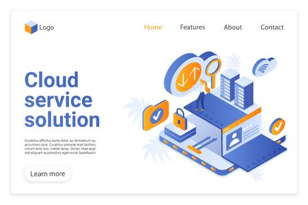 Cloud service solution landing page vector template. Modern internet technology website homepage UI layout with isometric illustration. Web hosting business, remote database webpage 3D concept Çizim