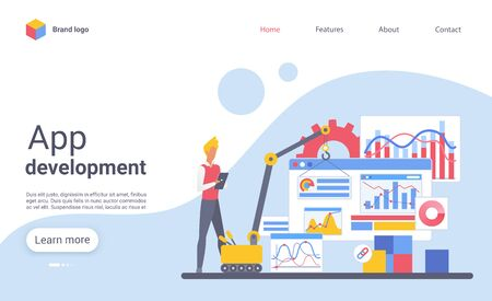 App development landing page vector template. Mobile programming website homepage interface layout with flat illustration. Application creation business web banner, webpage cartoon concept Archivio Fotografico - 131604149