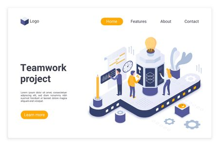 Teamwork project landing page vector template. Effective team building website homepage interface layout with isometric illustration. Successful business management web banner, webpage cartoon concept