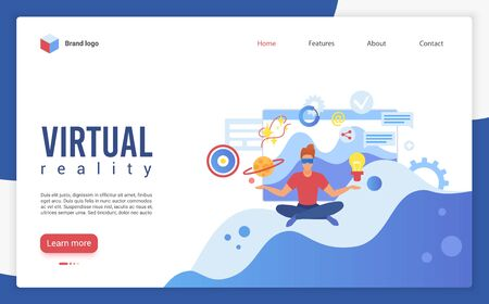 Virtual reality landing page vector template. Futuristic technology website homepage UI layout with isometric illustration. High tech device for work and entertainment web banner cartoon concept Çizim