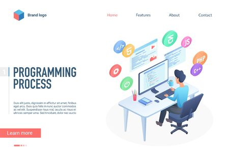 Programming process landing page vector template. Software engineering website homepage interface layout with isometric illustration. Program development education web banner, webpage 3D concept