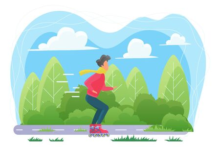 Guy on roller skates flat vector illustration. Young man in scarf, sportsman cartoon character. Male skater training outdoors, fast ride. Active lifestyle, sport activity, outdoor recreation