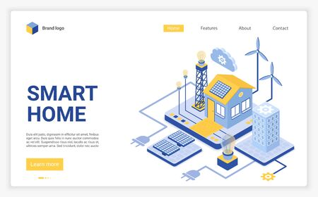 Smart home landing page vector template. Modern eco friendly technology website homepage interface layout with isometric illustration. Renewable energy sources web banner, webpage 3D concept Çizim