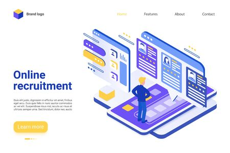 Online recruitment landing page vector template. Employment agency website homepage interface layout with isometric illustration. Internet job search platform, HR software web banner 3D concept Çizim