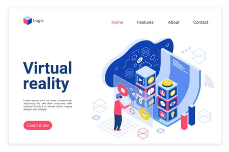 VR technology landing page vector template. Virtual reality devices website homepage interface layout with isometric illustration. Business and leisure innovation web banner, webpage cartoon concept