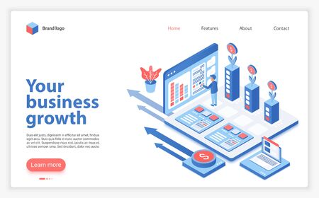 Your business growth landing page vector template. Successful entrepreneurship website homepage interface layout with isometric illustration. Startup support program web banner, webpage 3D concept
