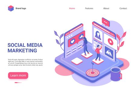 Social media marketing landing page vector template. Viral internet advertising website homepage UI layout with isometric illustration. Target audience attraction campaign web banner 3D concept