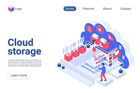 Cloud storage landing page vector template. Wireless technology website homepage interface layout with isometric illustration. Remote data access, file management system web banner 3D concept