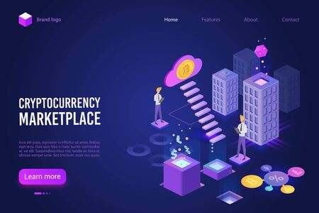 Cryptocurrency marketplace landing page vector template. Digital money exchange platform website homepage UI layout with isometric illustration. Blockchain technology web banner 3D concept Иллюстрация