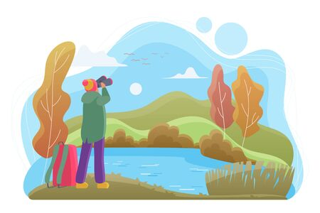Birdwatcher with binoculars flat vector illustration. Nature lover cartoon character. Man looking at landscape in autumn day. Birdwatching, wildlife observation, birding. River, forest, lake Çizim