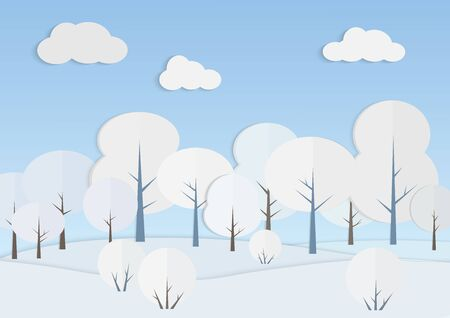 White trees in winter forest vector illustration. Snowy landscape under blue sky paper art. Nature view in cold day. New year and christmas card design. Seasonal scenery background