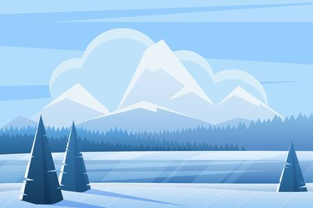 Blue winter landscape flat vector illustration. Spruce forest and mountains. Snowy nature view in frozen day. Wood in wintertime. Frosty outdoor scene with snow. Seasonal background