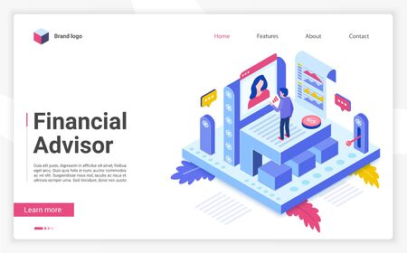 Financial advisor vector isometric landing page template. Business strategy website homepage interface layout. Investment advisory, consulting. Budget planning web banner, webpage 3D concept