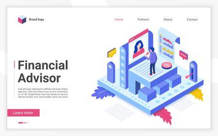 Finanzberater Vektor isometrische Zielseitenvorlage. Website-Schnittstellenlayout der Geschäftsstrategie-Website. Anlageberatung, Beratung. Budgetplanungs-Webbanner, Webseiten-3D-Konzept Vektorgrafik