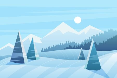 Sunny winter day vector illustration. Scenic view with spruces and mountains. Nature in wintertime. Snowy forest. Frozen weather. Seasonal background. Picturesque outdoor scene with snow
