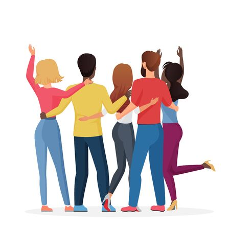 Diverse friend group of people hugging together, adolescent unity. Back view of man and woman friends standing together, embracing each other, waving hands vector illustration