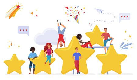 People with golden cartoon stars flat vector illustration. Users evaluating app performance. Customers giving feedback cartoon characters. Measuring consumers satisfaction with rating system.