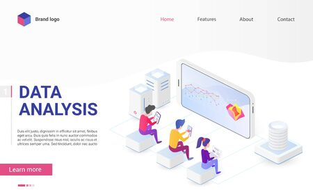 Data analysis and visualization isometric landing page vector template. Usability testing and user experience. Big data, it industry, statistics, web analytics, website traffic web page design layout