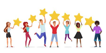 Customer reviews flat vector banner template. Happy users holding golden stars cartoon characters. Customers evaluating performance, services. Consumers positive feedback poster with text space Stock Illustratie